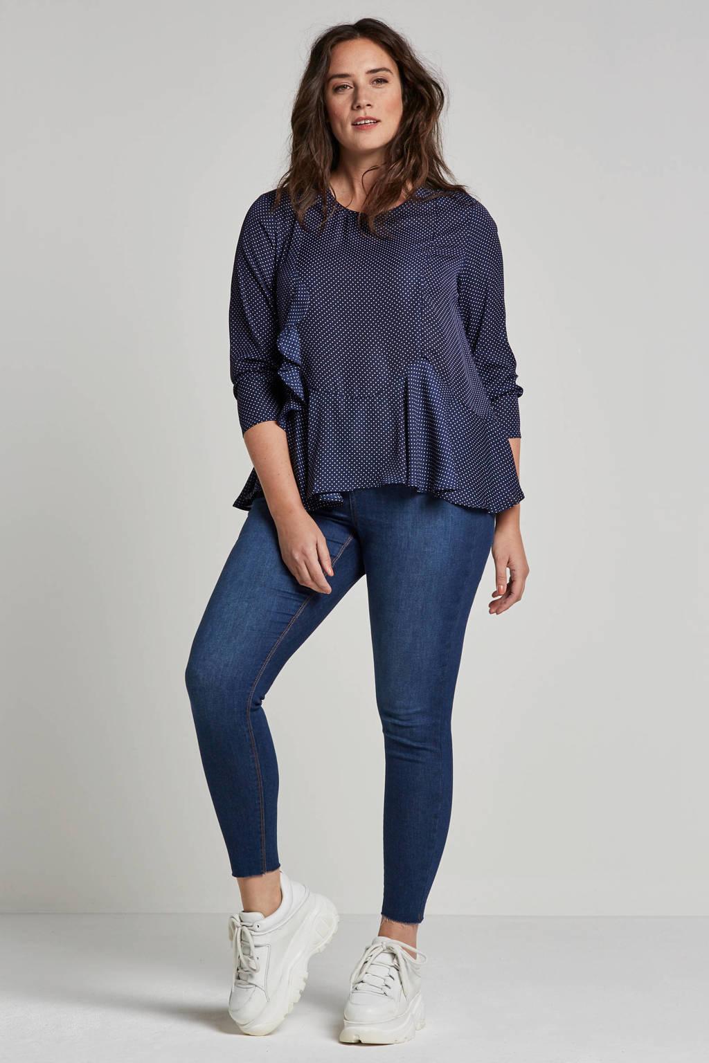 Lost Ink Plus blouse met stippen, Donkerblauw
