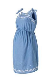 positie jurk met borduursels blauw