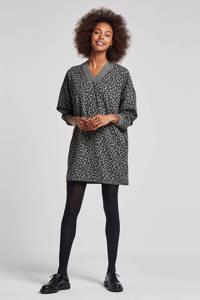 10DAYS jurk met panterprint, Groen/zwart