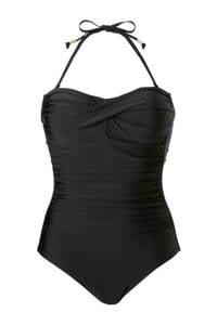 whkmp's beachwave corrigerend halterbadpak met plooien zwart, Zwart