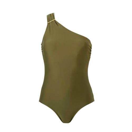 whkmp's beachwave corrigerend badpak one shoulder groen