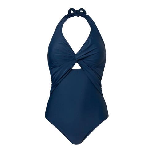 corrigerend badpak gevoerd met haltersluiting blauw