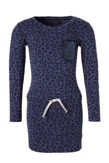 jurk Aaliyah met panterprint blauw