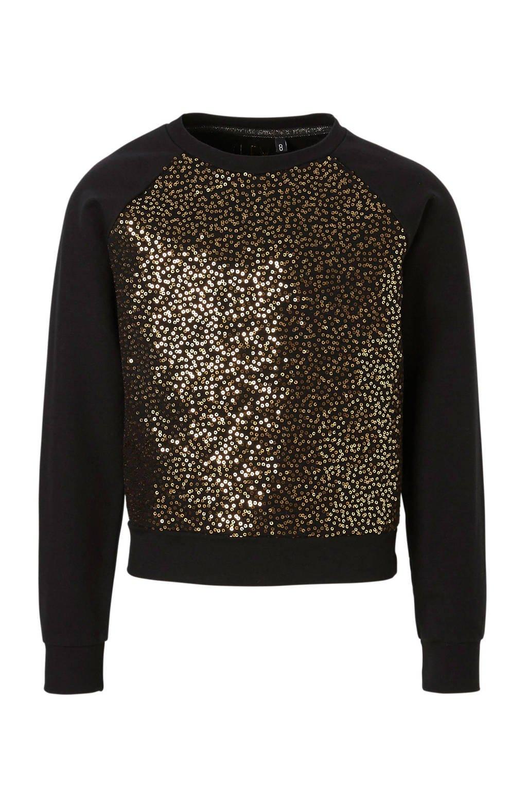 LEVV sweater Anastasia met pailletten zwart, Zwart/goud