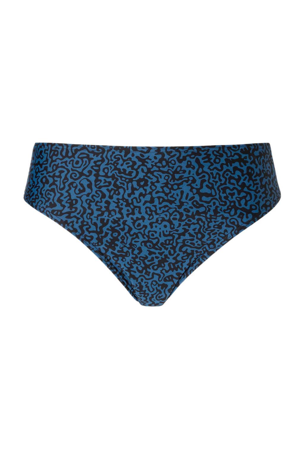 whkmp's beachwave Mix & Match bikinibroekje gevoerd in all over print blauw, Blauw/zwart