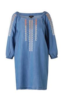 jurk met denim look en borduursels