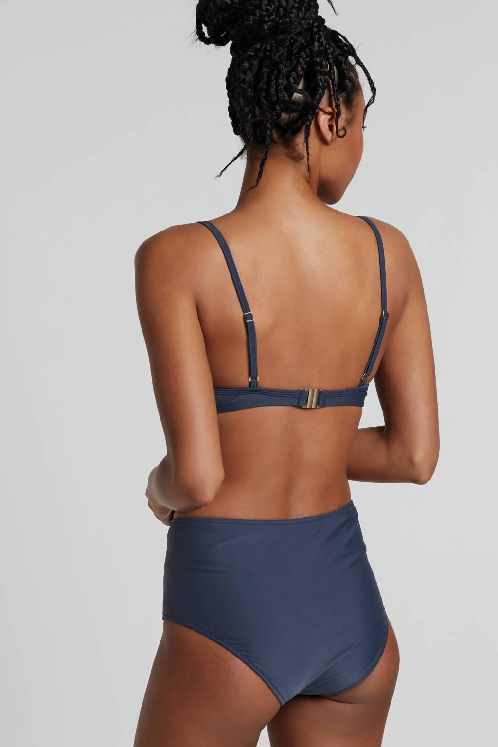 whkmp's beachwave beugel bikinitop blauw, Blauw/zwart