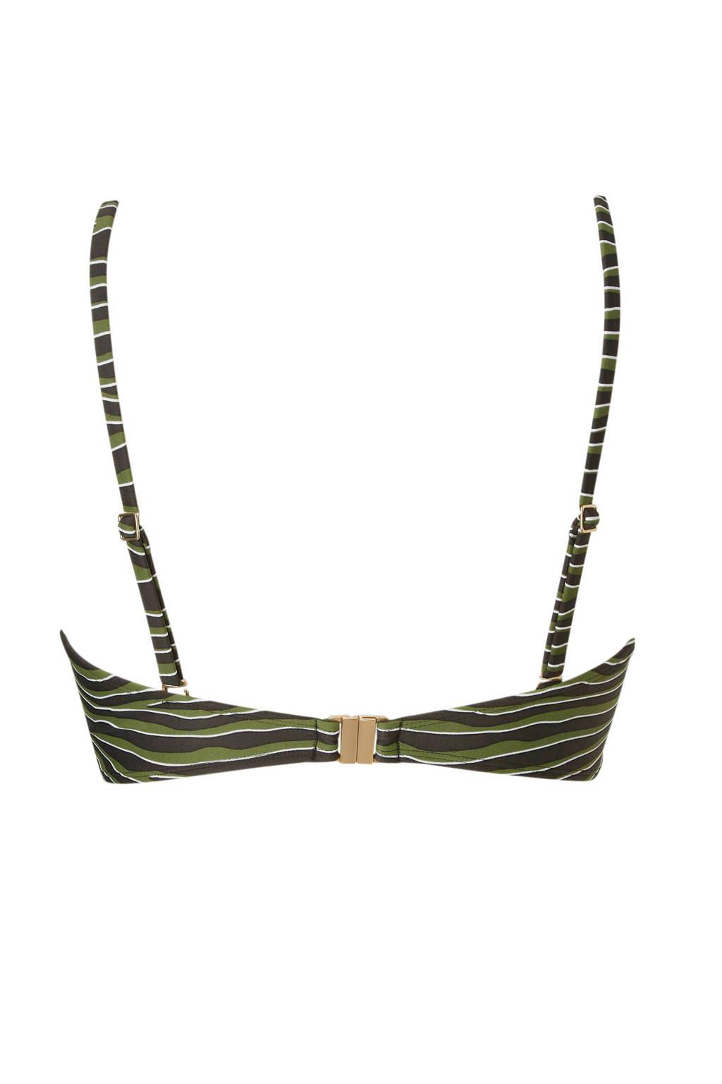 whkmp's beachwave bikinitop in een streep print groen, Groen/zwart