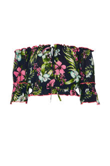 off shoulder crop top met bloemenprint
