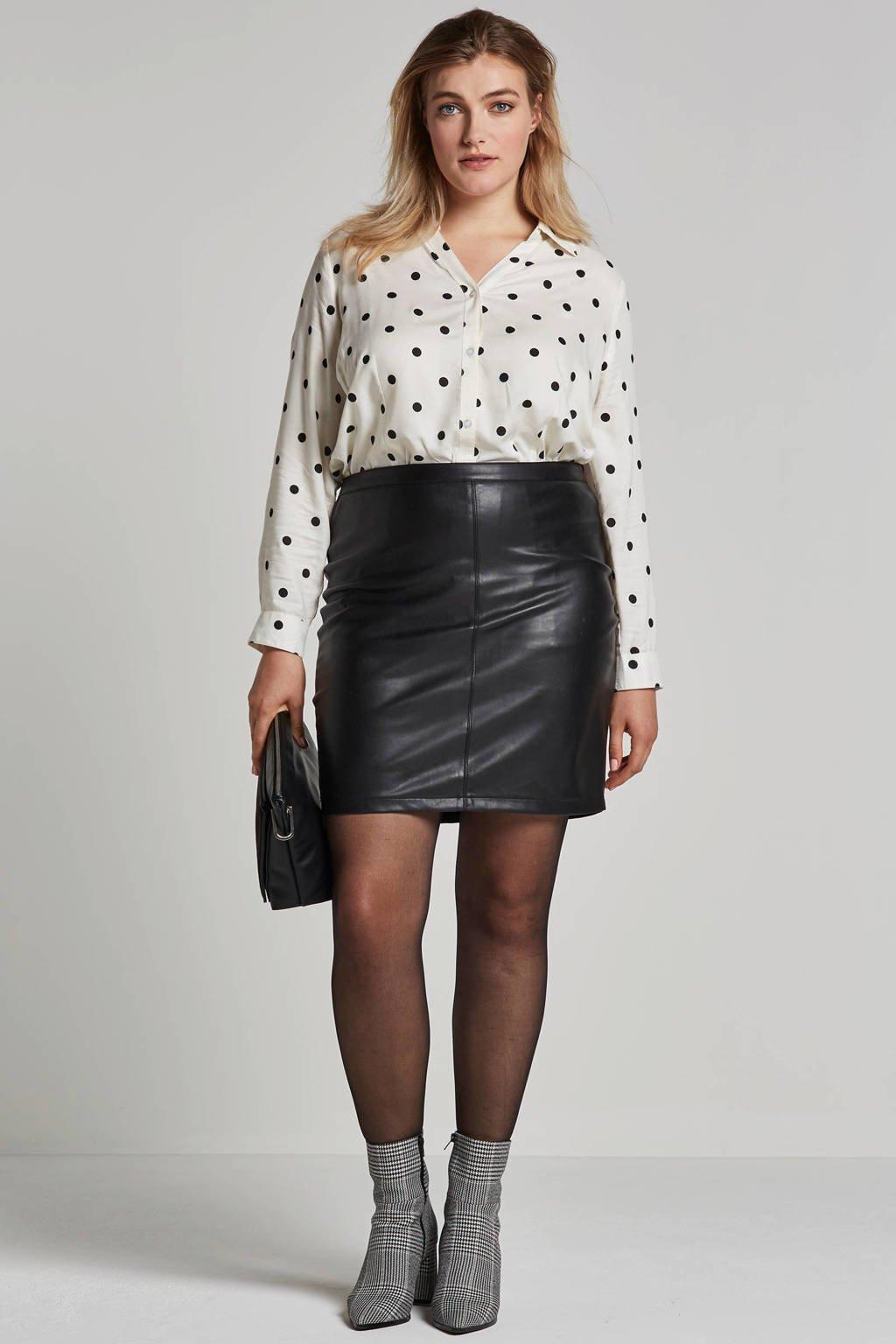 Adia blouse met stippen, Wit/zwart