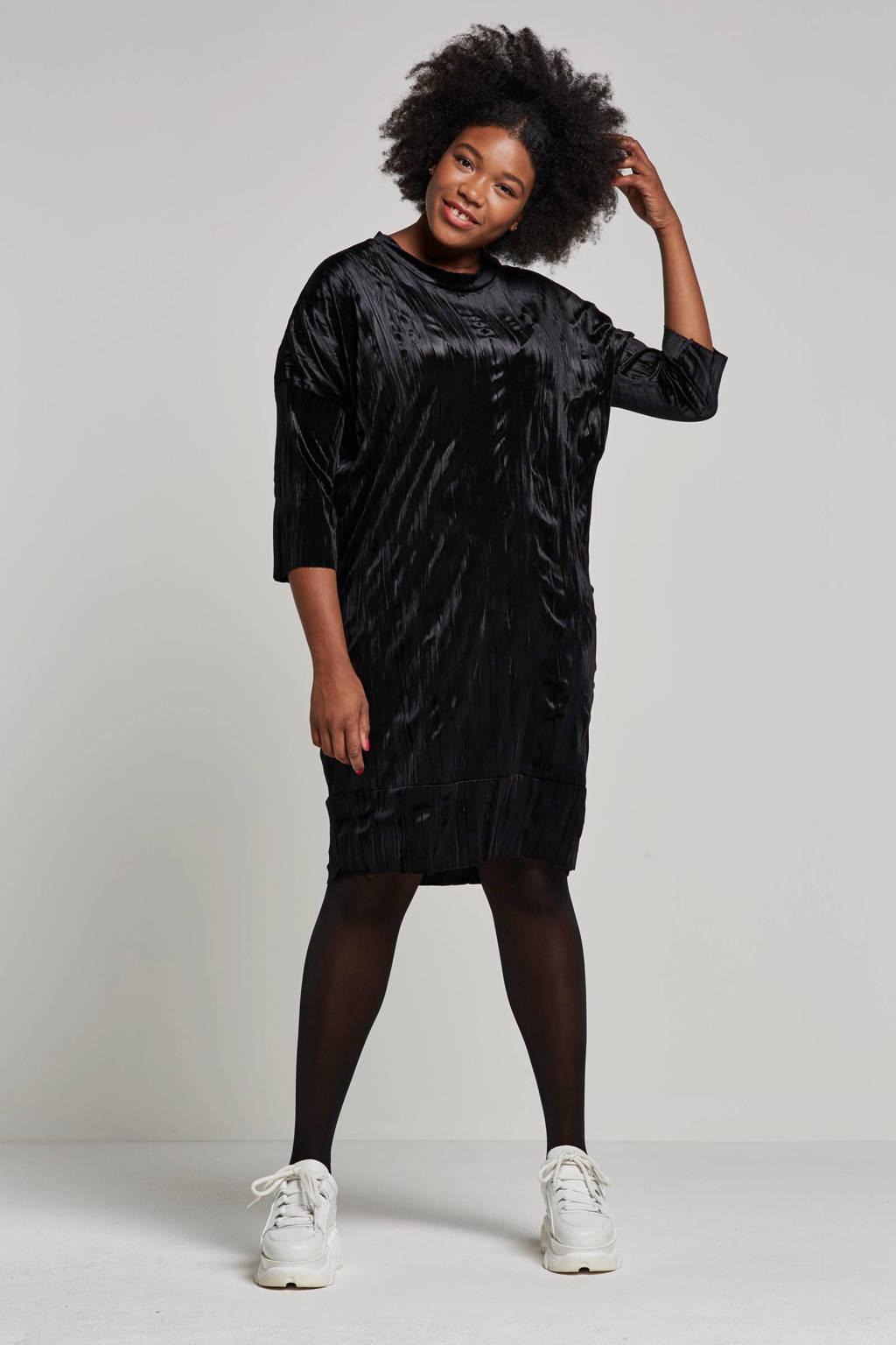 Adia fluwelen jurk, Zwart