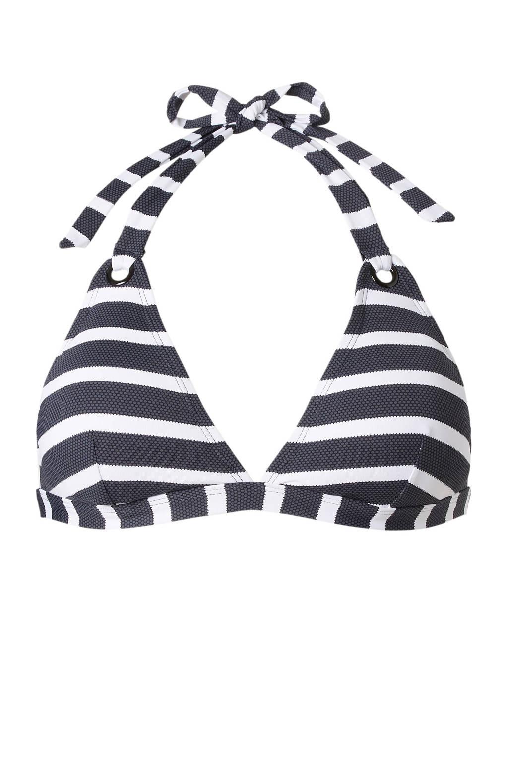 ESPRIT Women Beach Mix & Match halter bikinitop, Grijs/wit/zwart
