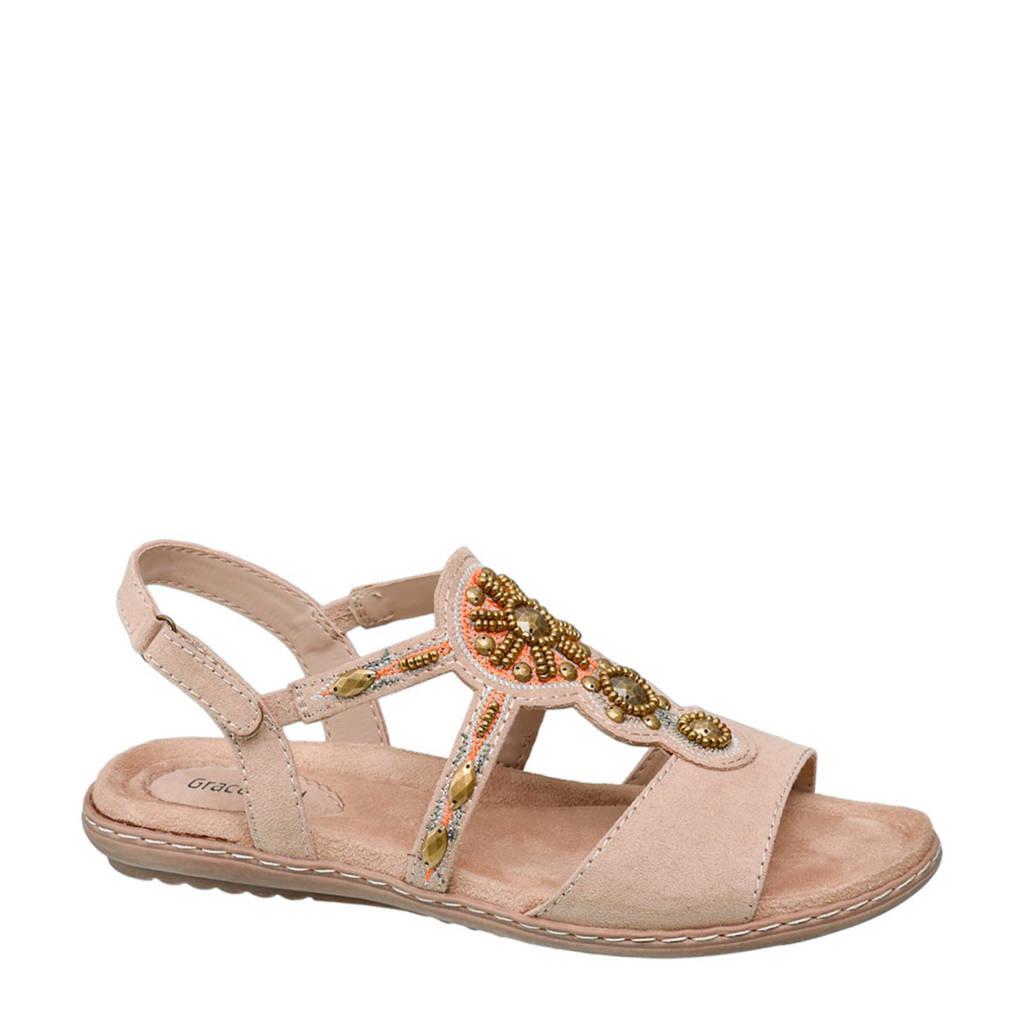 Wonderbaar vanHaren Graceland sandalen met kralen taupe | wehkamp GF-19