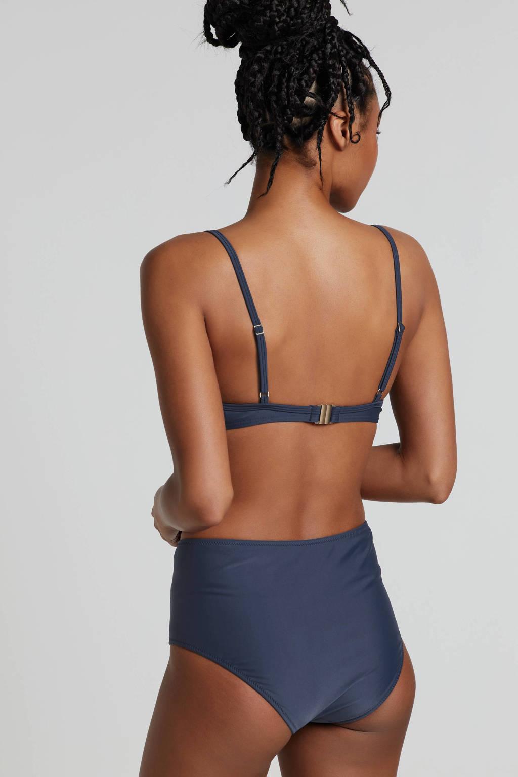 whkmp's beachwave corrigerend broekje high waist blauw, Blauw/zwart