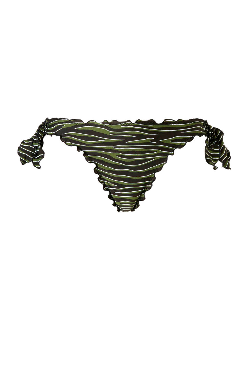 whkmp's beachwave strik bikinibroekje met strepen groen, Groen/zwart