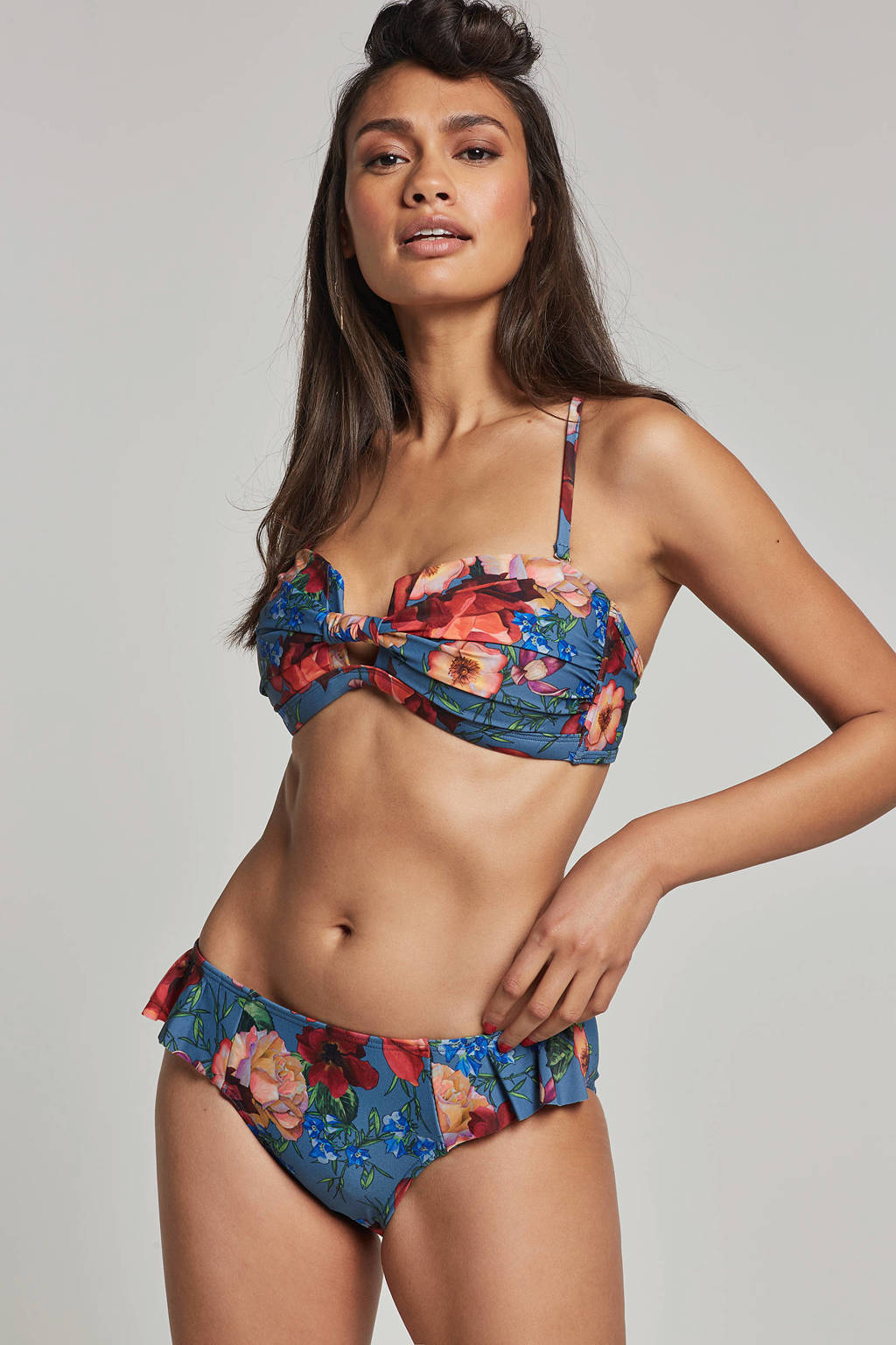 whkmp's beachwave bikinibroekje in all over print blauw, Blauw/rood/roze