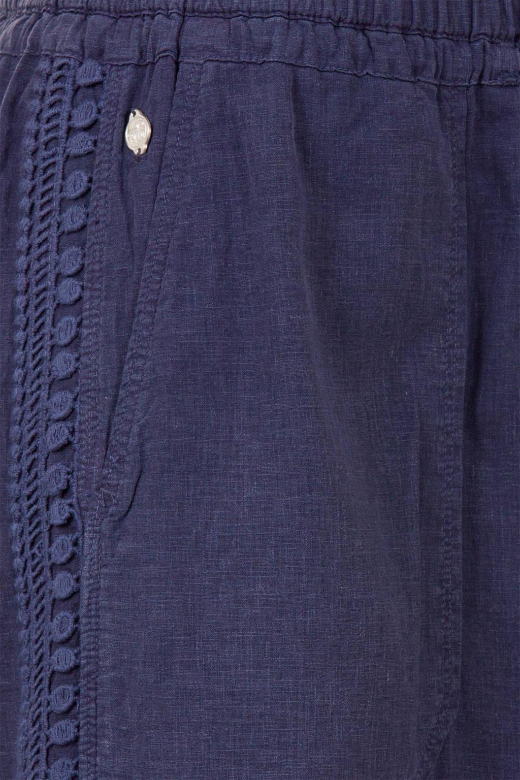 Miss Etam Regulier rok met linnen donkerblauw, Donkerblauw