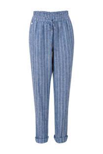 Miss Etam Regulier gestreepte 7/8 slim fit broek met linnen blauw