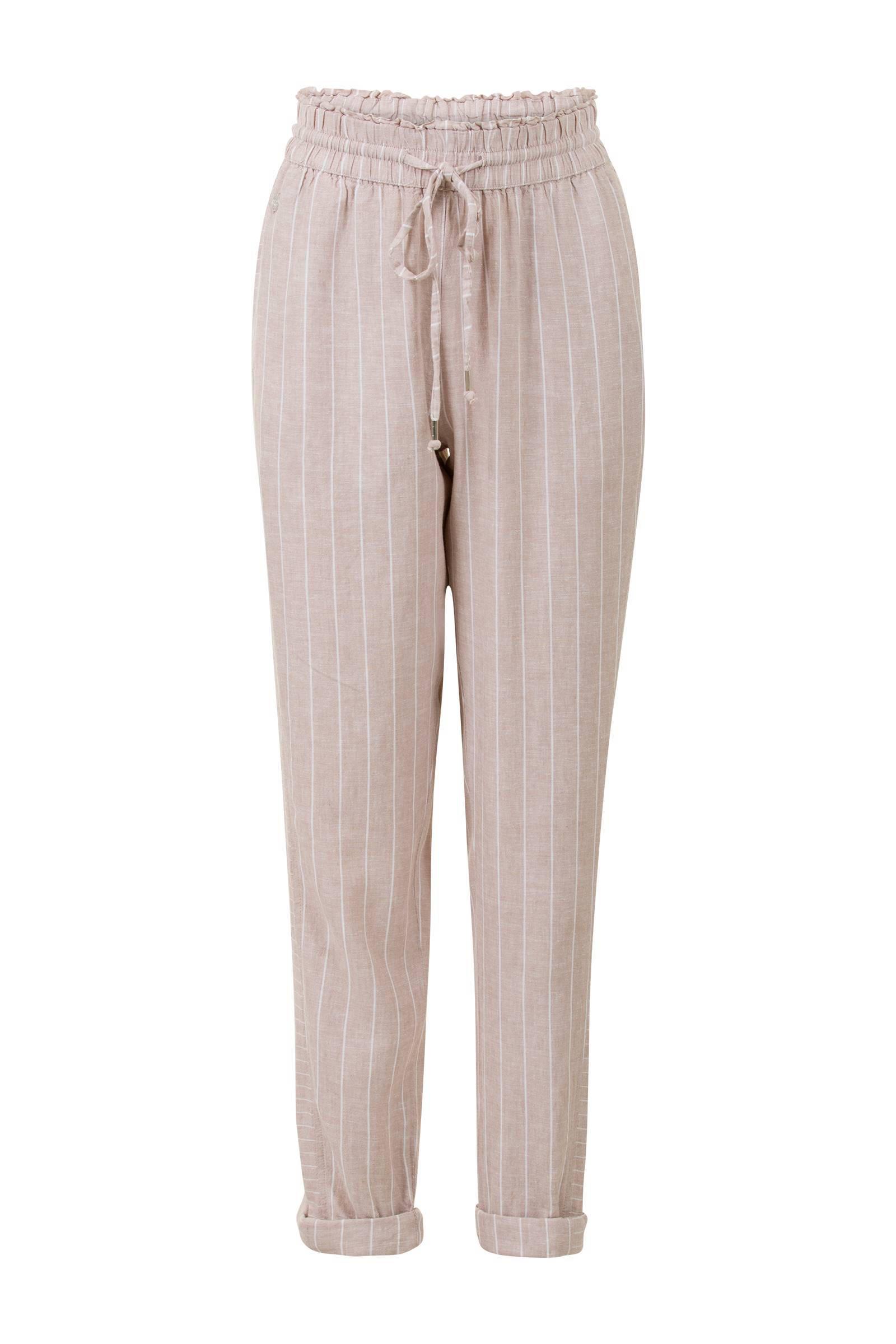 gestreepte 78 slim fit broek met linnen beige