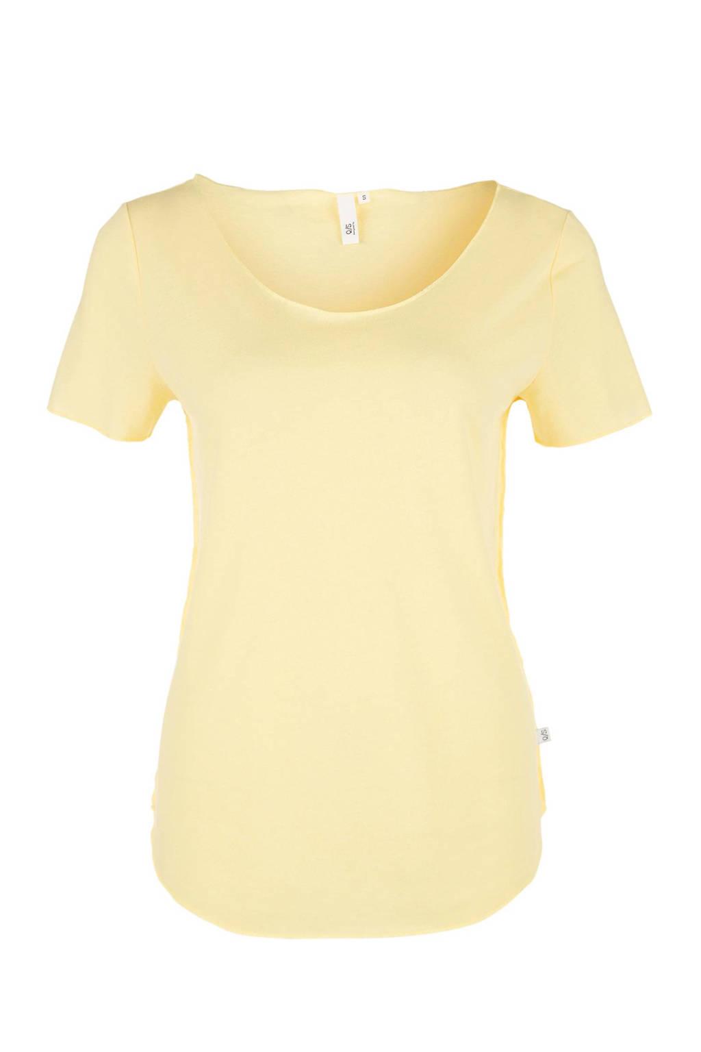 Q/S designed by T-shirt met linnen geel, Geel