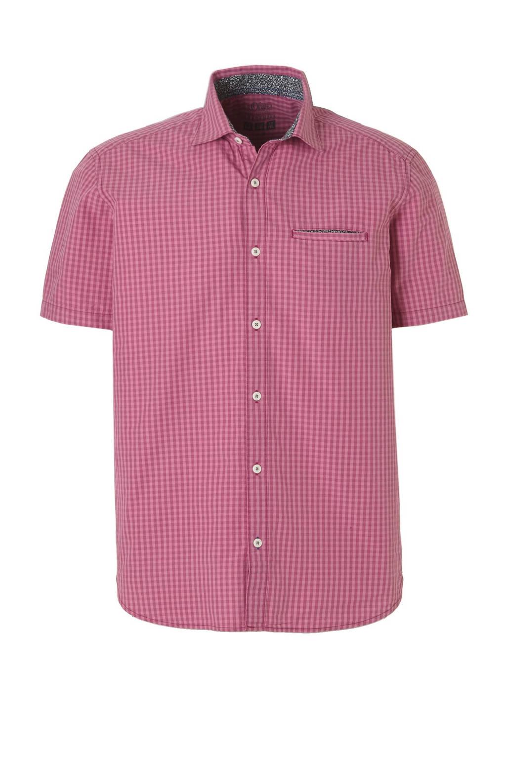 Roze Overhemd.S Oliver Geruit Overhemd Roze Wehkamp