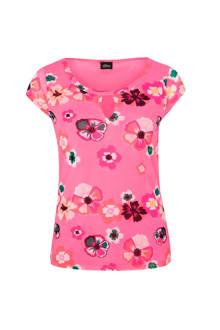 mesh T-shirt met bloemen roze