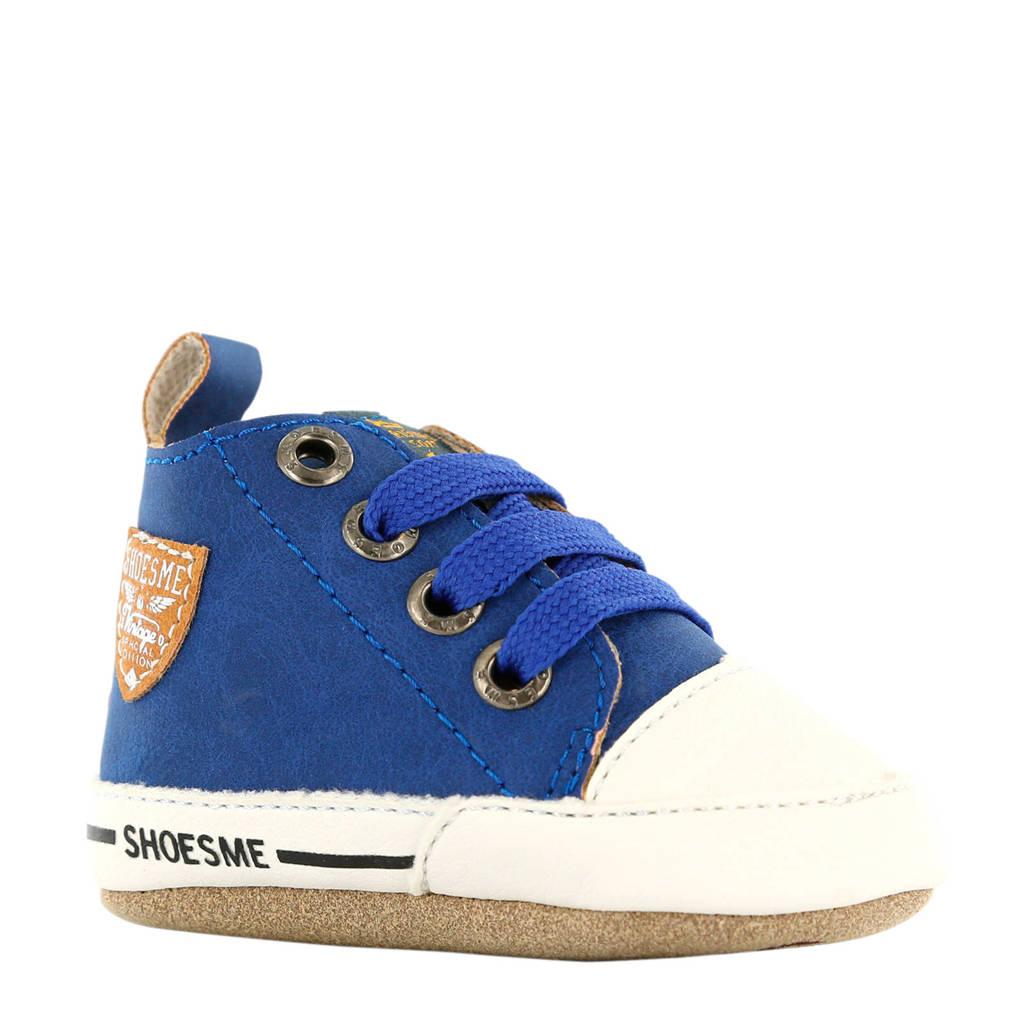 Shoesme leren babyschoenen blauw, Blauw/wit