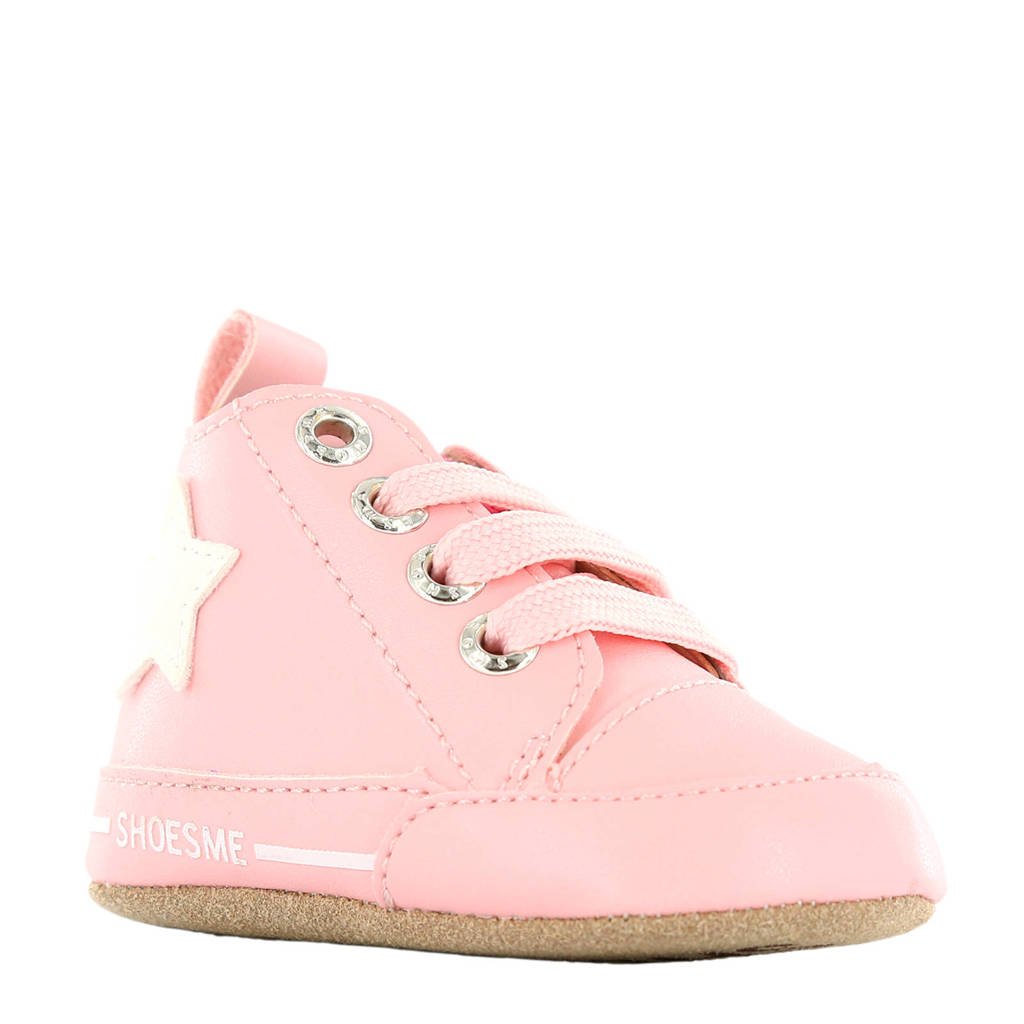 Shoesme leren babyslofjes roze, Roze/wit