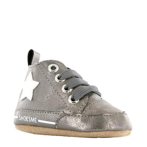 Shoesme leren babyslofjes zilvergrijs