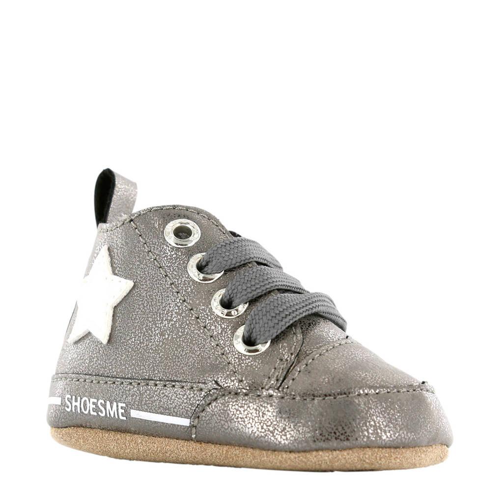 Shoesme   leren babyschoenen grijs, Grijs metallic