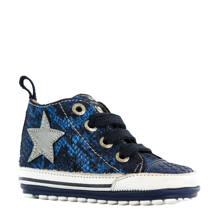 leren sneakers met slangenprint blauw