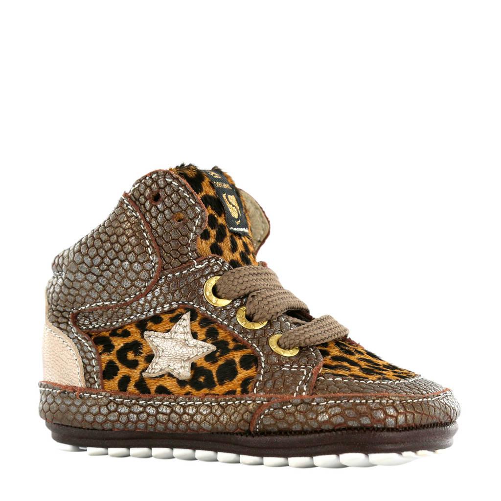 Shoesme leren sneakers met slangenprint bruin, Bruin
