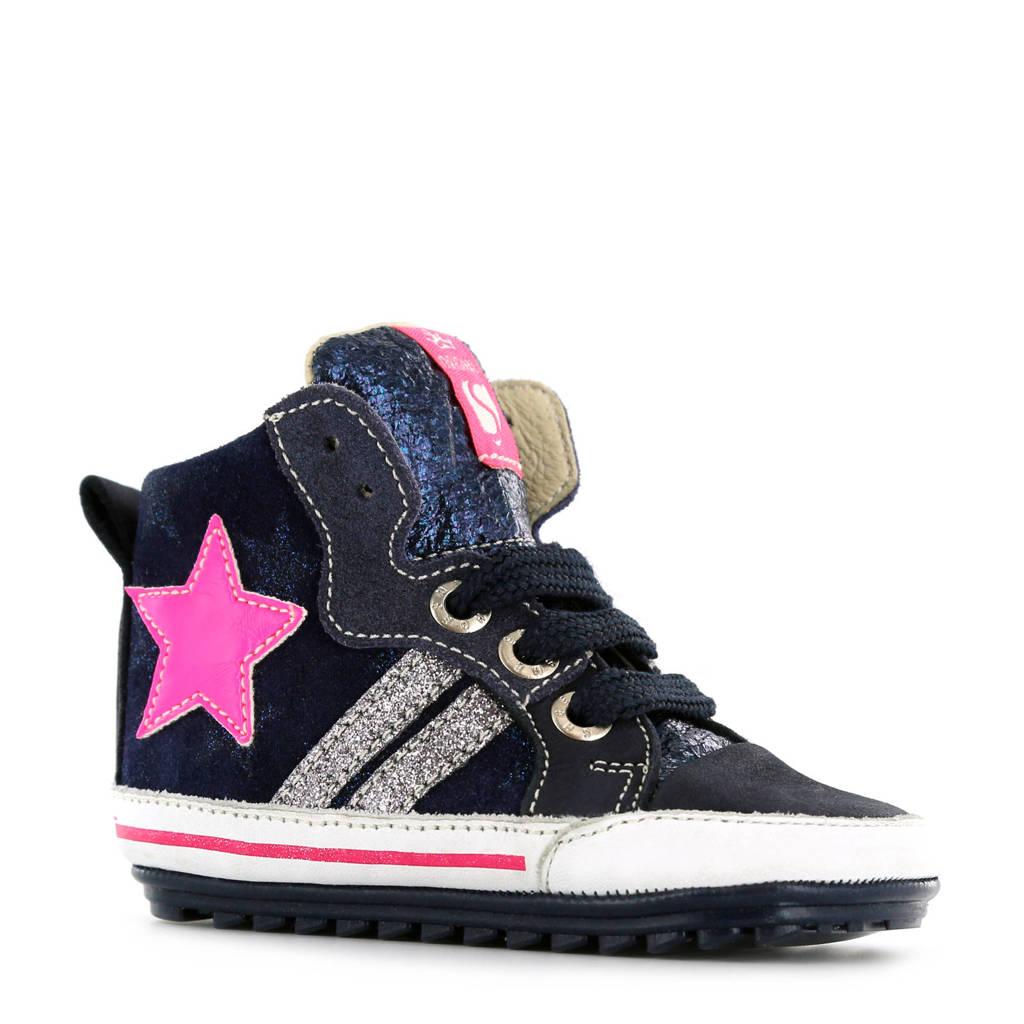 2cbfd22bfcf Shoesme suède sneakers met sterren marine, Marine/roze