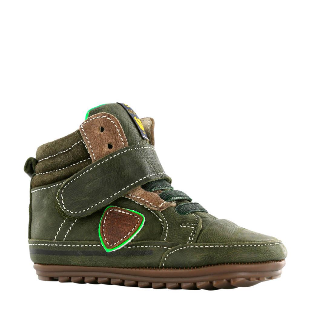 Shoesme leren sneakers donkergroen, donkergroen/bruin