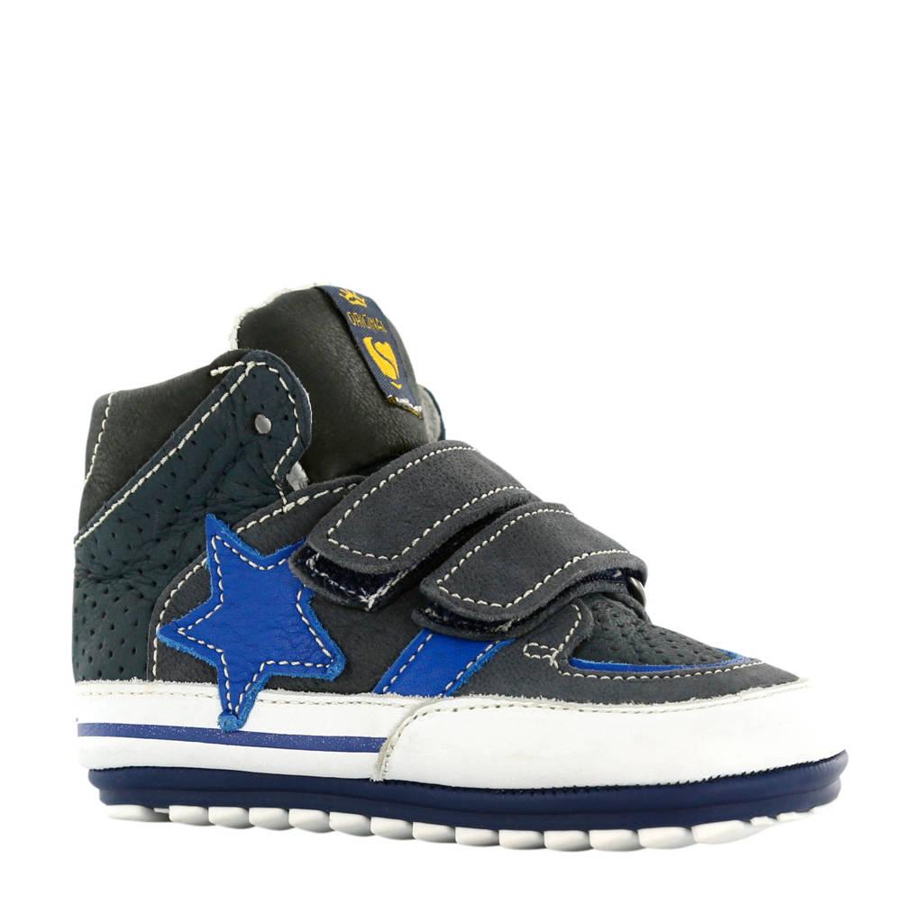 Shoesme leren sneakers donkerblauw, Donkerblauw/wit