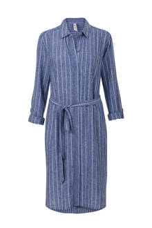 Regulier gestreepte blousejurk met linnen blauw
