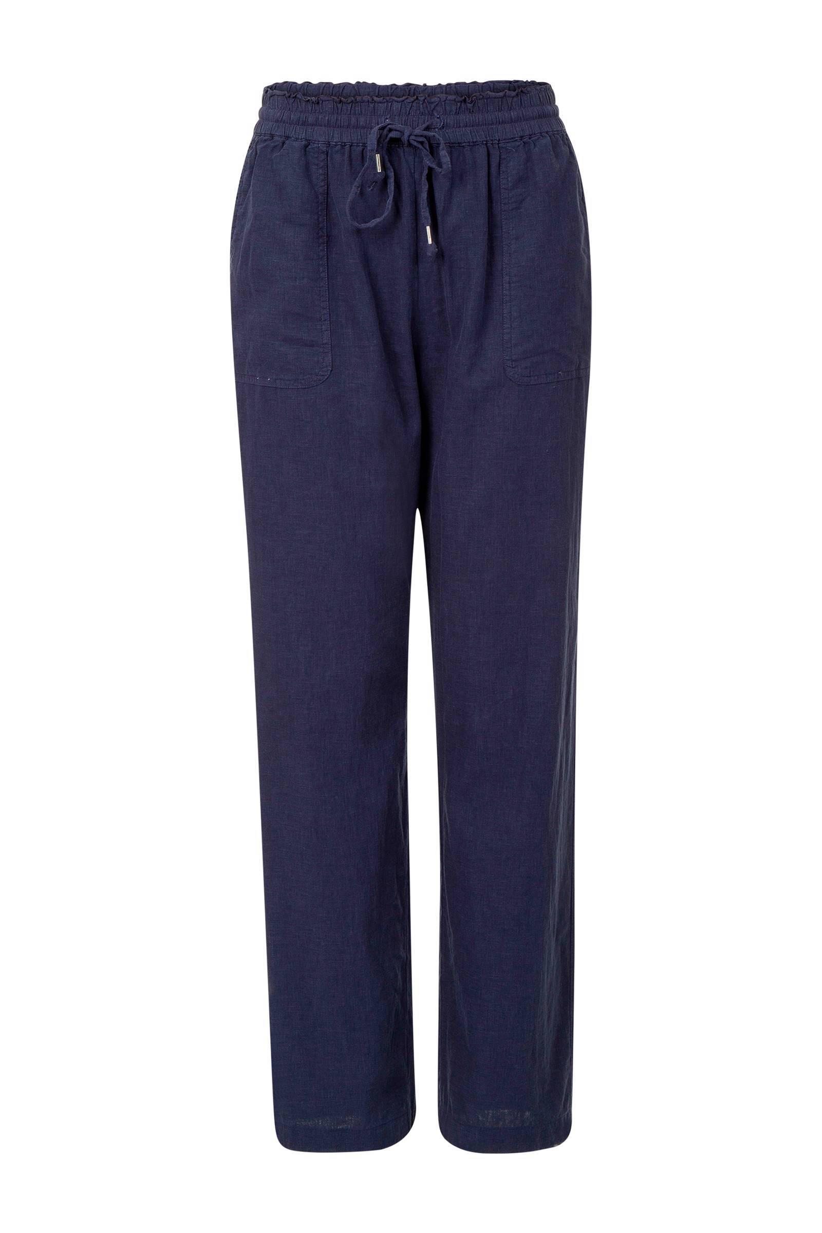 loose fit 78 broek met linnen donkerblauw