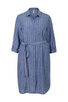 Plus gestreepte blousejurk met linnen - blauw