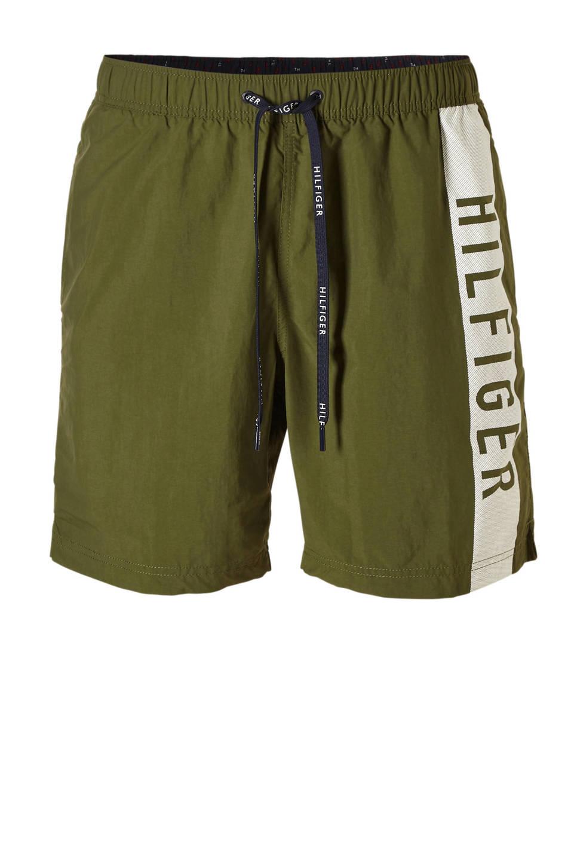 Tommy Hilfiger zwemshort met printopdruk groen, Olijfgroen / wit