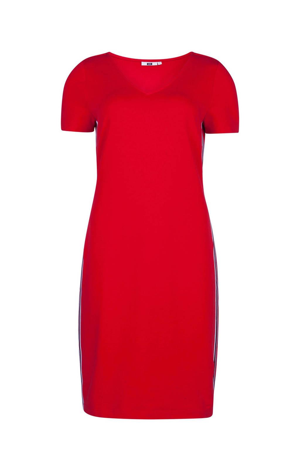WE Fashion jurk met contrastbies rood, Rood/wit