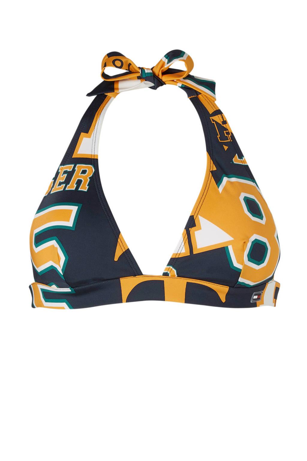 Tommy Hilfiger Mix & Match halter bikinitop met print marine, Marine/geel/groen
