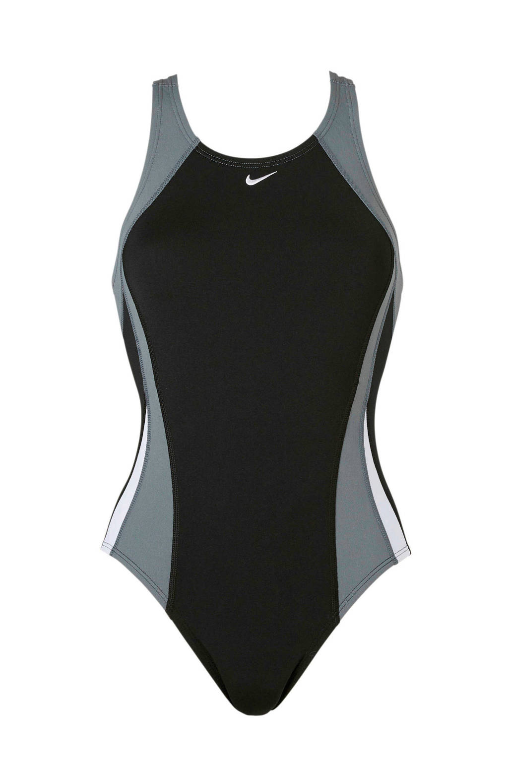Nike sportbadpak gevoerd zwart, Zwart/grijs/wit