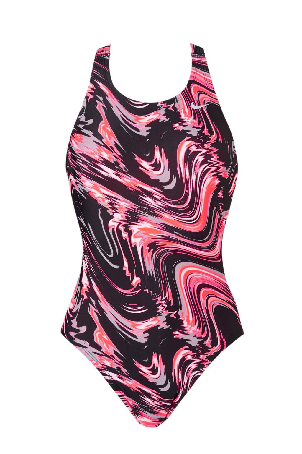 Nike sportbadpak gevoerd in all over print neon roze, Neon roze/zwart/grijs