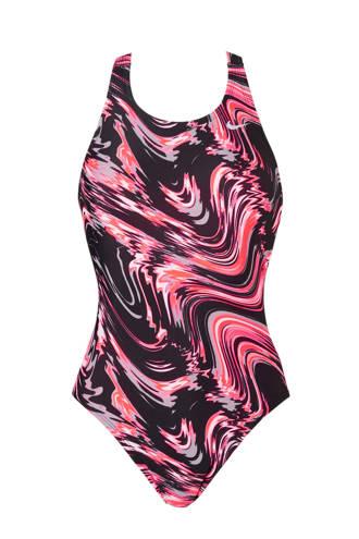 sportbadpak gevoerd in all over print neon roze