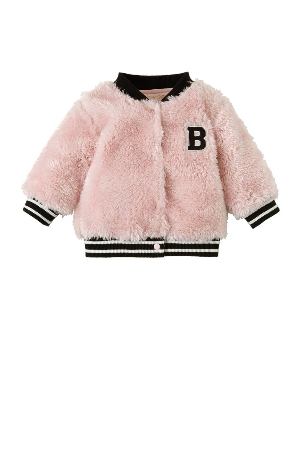 B.E.S.S newborn vest, Lichtroze/ zwart/ wit