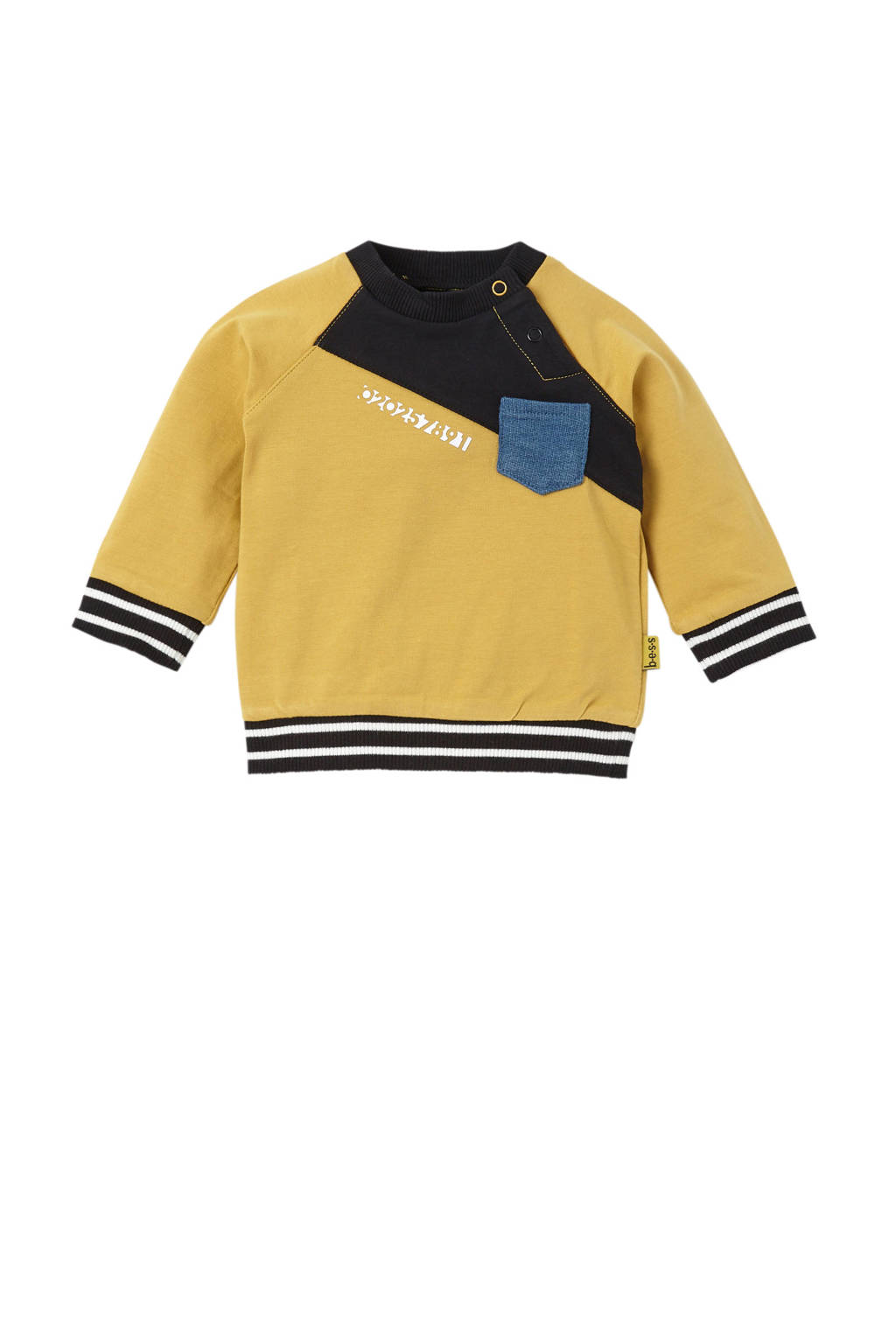 B.E.S.S newborn sweater oker, Oker/zwart