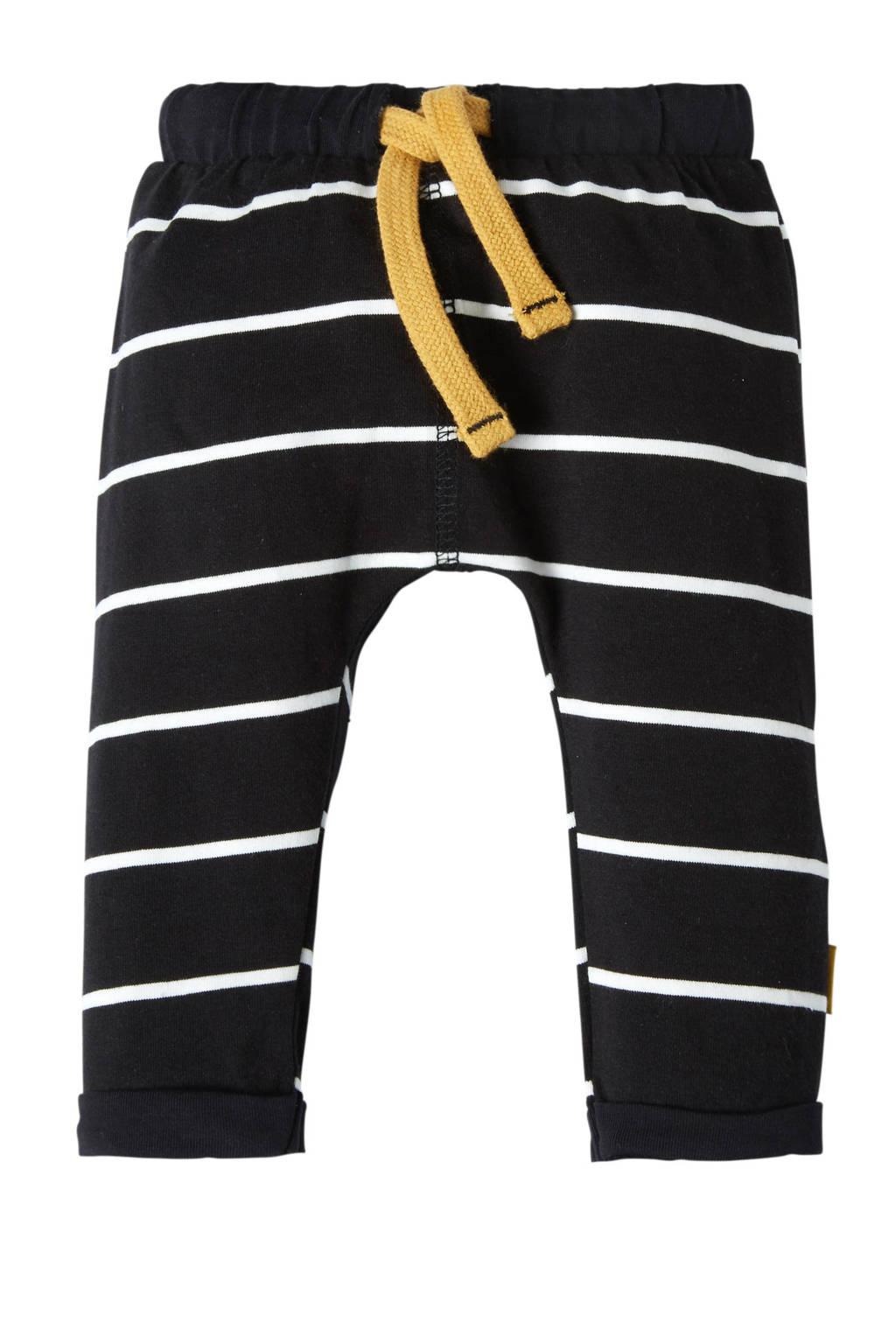 B.E.S.S newborn gestreepte broek zwart, Zwart/wit