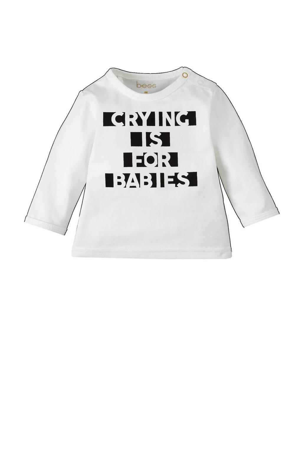 B.E.S.S newborn T-shirt, wit/ zwart