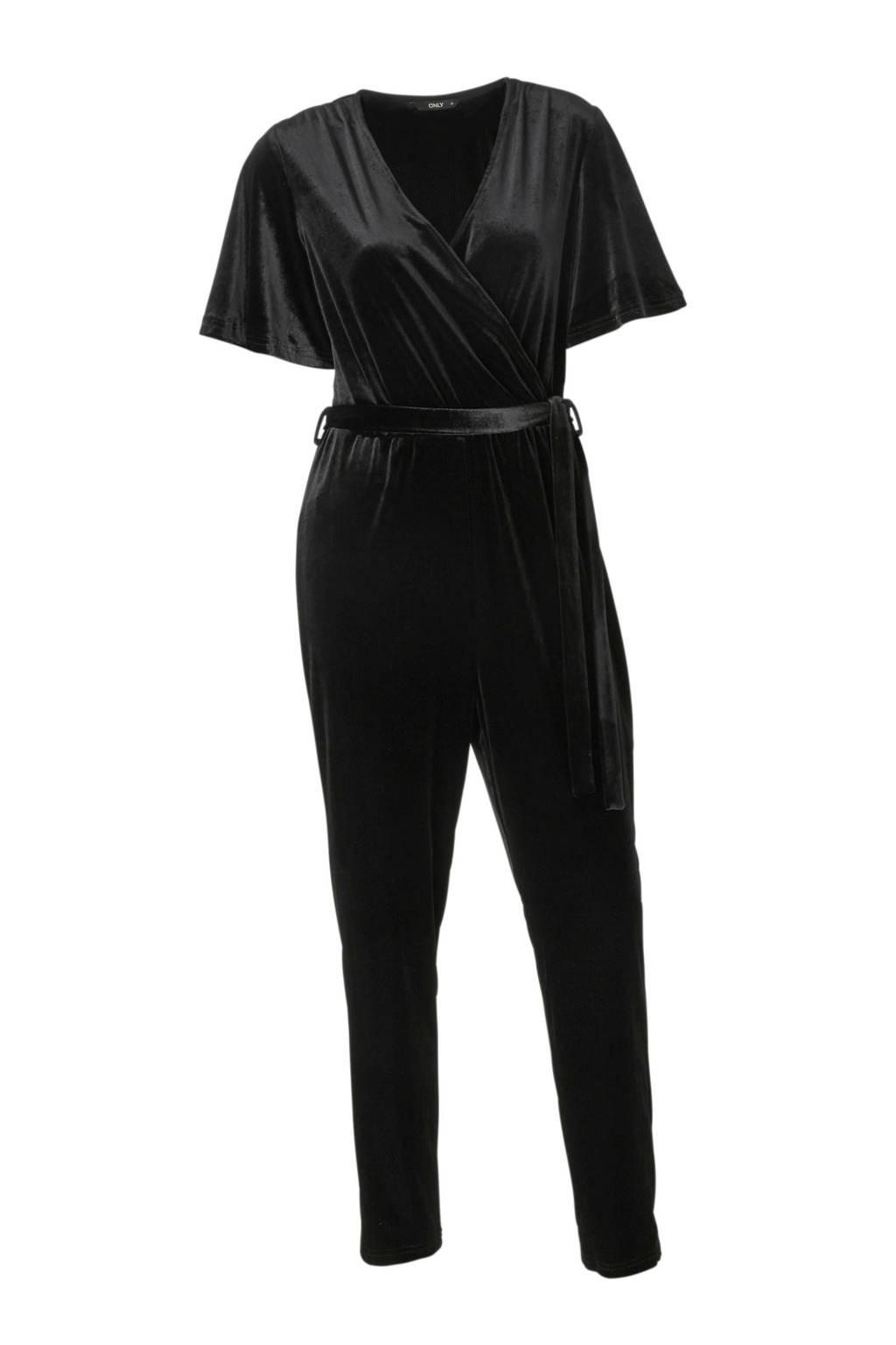 ONLY fluwelen jumpsuit, Zwart