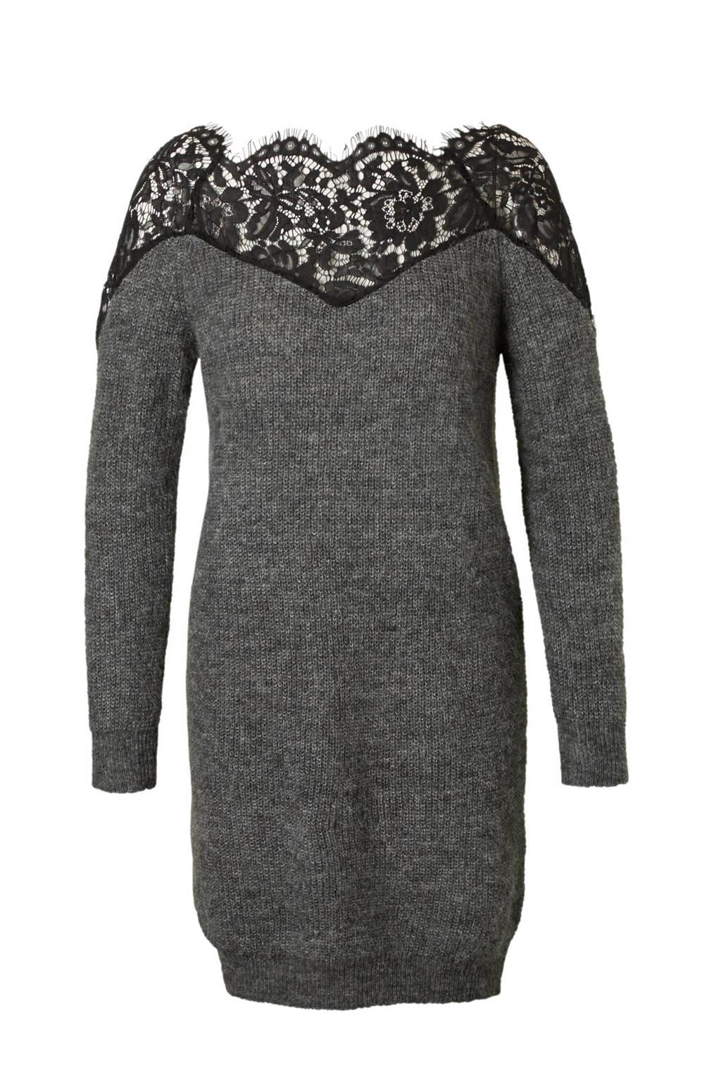 ONLY gebreide jurk met kanten details, Grijs/zwart
